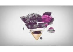抽象,三角形,数字艺术,简单的背景32556