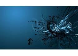 抽象,形状,数字艺术,蓝色背景22410