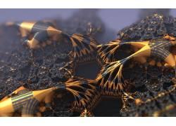 三维分形,分形,金,黑色,抽象334301图片