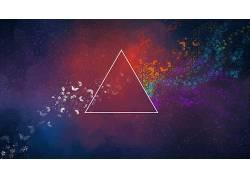 三角形,华美,抽象,蝴蝶,平克・弗洛伊德(乐队名,数字艺术32578