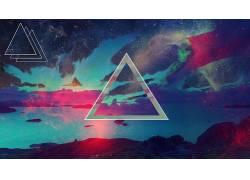 抽象,三角形,银河,形状,天空,性质,明星,数字艺术102779
