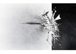 抽象,单色,油漆飞溅,分裂152017