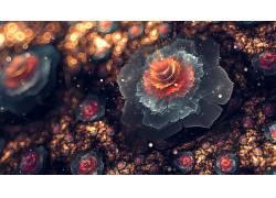 抽象,分形花,数字艺术,3D,背景虚化,花瓣174092