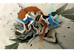 抽象,华美,3D,数字艺术,形状22814