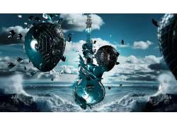抽象,吉他,水,乐器,数字艺术53003图片