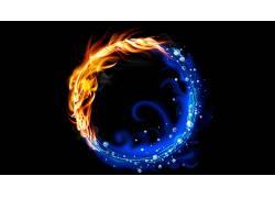 抽象,向量,华美,火,水,黑色的背景434977