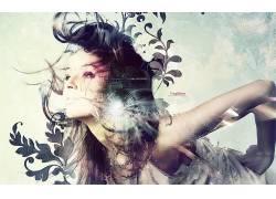 妇女,照片处理,黑发,数字艺术,艺术品,抽象,模型,形状6597