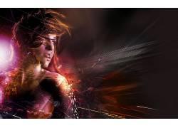 妇女,照片处理,黑暗,几何,数字艺术,模型,抽象,线,形状6604