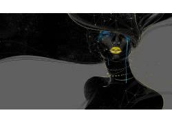 几何,妇女,数字艺术,面对,抽象22444