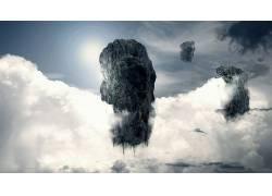 抽象,天空,幻想艺术,性质,岩,云,漂浮的,数字艺术32584