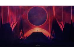 抽象,天空,空间,数字艺术,黑暗,对称613876