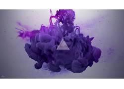 墨水,抽烟,抽象,数字艺术,紫色,阿尔韦托塞维索,油漆在水中37369