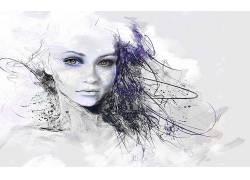 墨水,数字艺术,妇女,抽象,幻想艺术2504