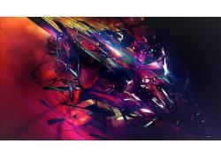 抽象,3D,华美,数字艺术,亮,黑暗,粉,蓝色,绿色,紫色,碎片,彩虹355图片