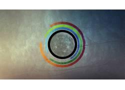 抽象,圈,数字艺术,月亮,数字破坏,极简主义453167