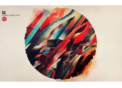 抽象,华美,圈,艺术品,白色背景,数字艺术,水彩8109