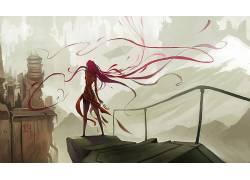 头发,虚构,抽象,数字艺术,艺术品,波尔多,红,幻想艺术386808