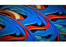 抽象,3D,橙子,蓝色355973