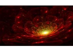 抽象,数字艺术,3D,红,分形花,花瓣,灯火172228