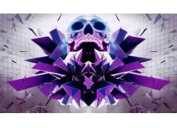 抽象,头骨,像素化,数字艺术,艺术品354687