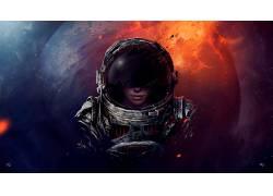 宇航员,空间,幻想艺术,行星,宇航服,抽象,妇女,超现实主义,数字艺