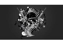 抽象,头骨,数字艺术,灰色背景602312