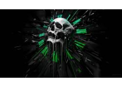 抽象,头骨,时钟,黑色的背景,数字艺术552671
