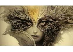 抽象,妇女,素描,眼睛,面具,艺术品,幻想女孩,幻想艺术43989