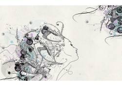 抽象,妇女,面对,模式,艺术品450420