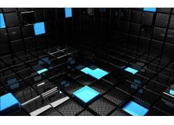 抽象,3D块,给予,数字艺术,3D,CGI,黑色,蓝色13258