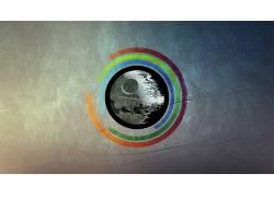 抽象,数字艺术,圈,死星,星球大战,数字破坏,极简主义453168