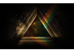 平克・弗洛伊德(乐队名,抽象,数字艺术,音乐,三角形,太空艺术,空