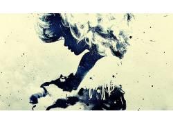 抽象,Alex Cherry,垃圾,过滤,妇女,面对,轮廓32249