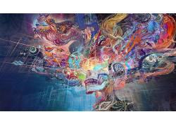 幻想艺术,华美,中国龙,数字艺术,抽象,头骨286486