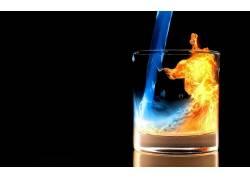 抽象,液体,喝杯酒,火,冰,数字艺术72379