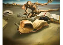 抽象,萨尔瓦多达利,绘画,超现实主义,图书,羽毛笔,经典艺术33318