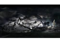 抽象,骨架,鸟类,幻想艺术,超现实主义60643
