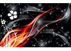 抽象,红,华美,灰色,火,火花,数字艺术57733