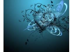 抽象,蓝色,心,蓝色背景,形状,数字艺术91557