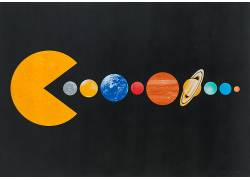 抽象,极简主义,简单的背景,圈,乔韦伯,绘画,吃豆子,行星,太阳,太