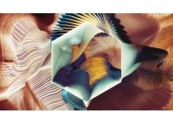 抽象,线,华美,几何,六边形,形状,数字艺术393837