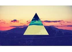 抽象,照片处理,polyscape,数字艺术,天空,云,三角形6451