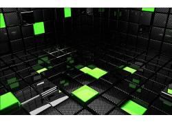 抽象,黑色,绿色,CGI,给予,数字艺术,3D10715