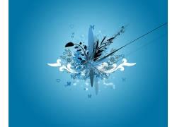 抽象,蓝色背景,数字艺术174863