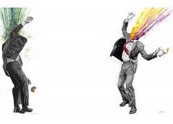 抽象,西装,甜甜圈,选择性着色,咖啡,领带,男人,艺术品382260