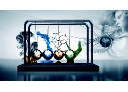 抽象,科学,火,水,地球,性质,空气,分子,球,简单的背景,球,数字艺