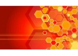 抽象,模式,数字艺术,几何,橙子,六边形,艺术品161990