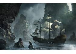 抽象,科幻小说,船,死,山,河,数字艺术365875图片