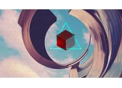 抽象,立方体,三角形,数字艺术118576