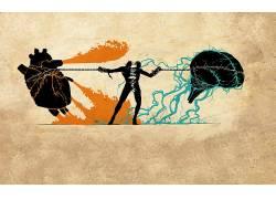 抽象,脑,心,电力线路,艺术品,数字艺术14098